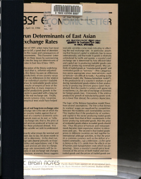 Long run Determinants of East Asian Real Exchange Rates