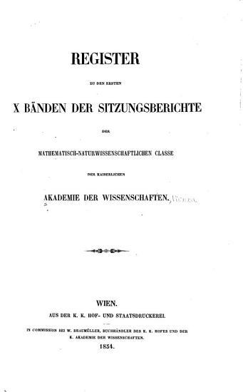 Sitzungsberichte der Mathematisch Naturwissenschaftliche Classe der Kaiserlichen Akademie der Wissenschaften PDF