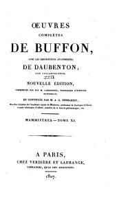 Oeuvres complètes de Buffon: avec les descriptions anatomiques de Daubenton, son collaborateur, Volume26,Partie11