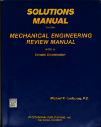 Solutions Manual for the Mechanical Engineering Review Manual