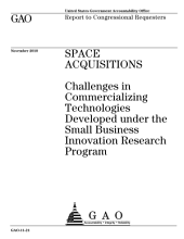 Space Acquisitions: Challenges in Commercializing Technologies Developed Under the Small Business Innovation Research Program