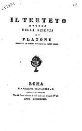 Il Teeteto, ovvero Della scienza di Platone