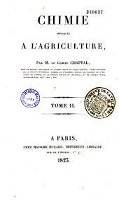Chimie appliquée à l'agriculture: Volume1