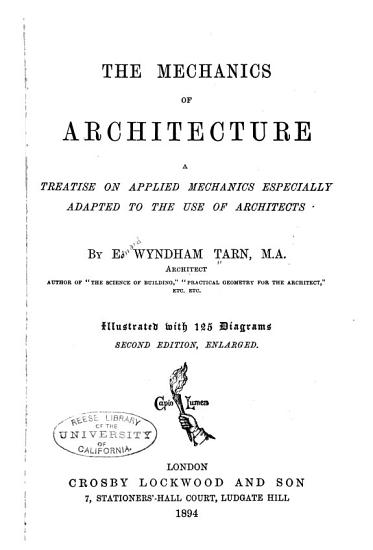 The Mechanics of Architecture PDF