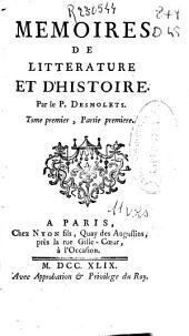 Memoires de litterature et d'histoire: Volume1