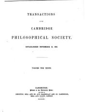 Transactions of the Cambridge Philosophical Society PDF