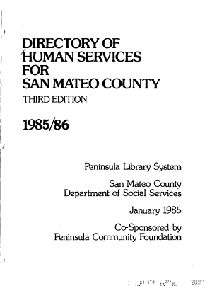 Directory of Human Services for San Mateo County