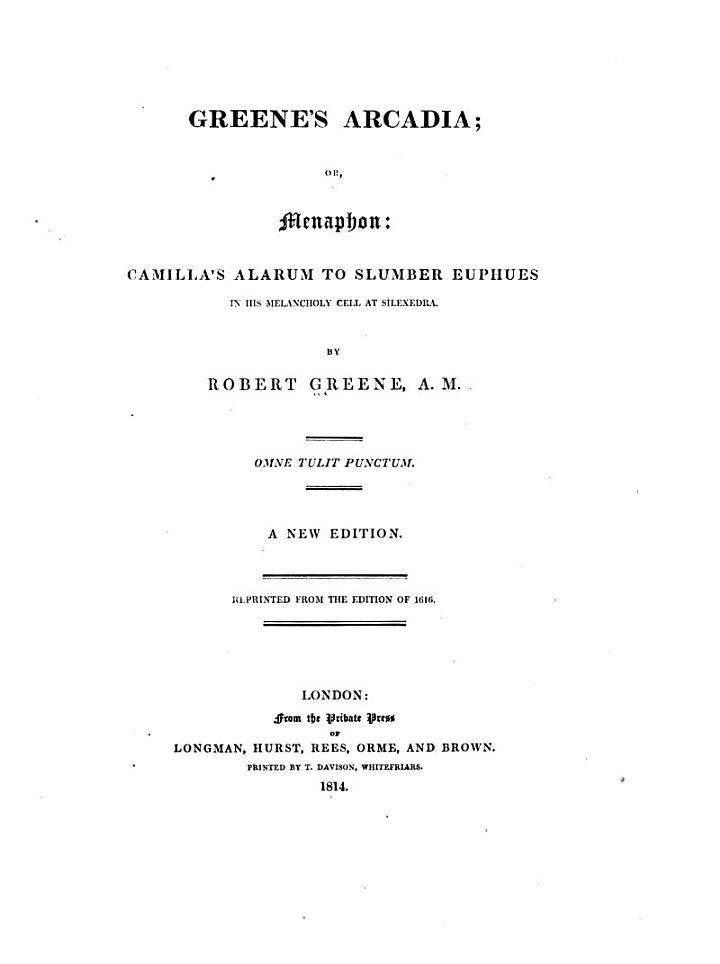 Greenes Arcadia, or Menaphon