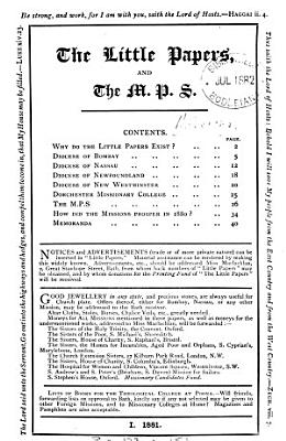 The Little papers  and the M P S   Continued as  Monthly papers of mission news   Continued as  Short papers of mission news