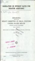 Legislation on Interest Rates for Disaster Assistance PDF