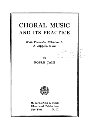 Choral Music and Its Practice
