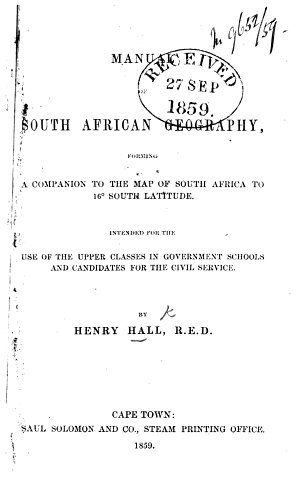Manual of South African Geography  etc
