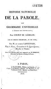 Histoire générale de la parole, ou grammaire universelle à l'usage des jeunes gens...