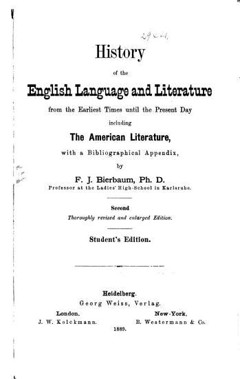 History of the English Language and Literature PDF