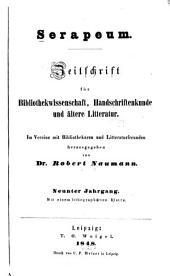 Serapeum: Zeitschrift für bibliothekwissenschaft, handschriftenkunde und ältere litteratur, Bände 9-10