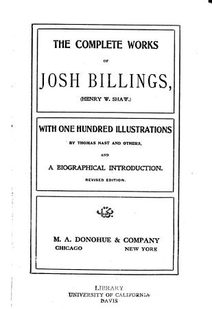 The Complete Works of Josh Billings  Henry W  Shaw  PDF