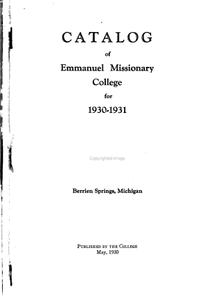 Emmanuel Missionary College Catalog Collection