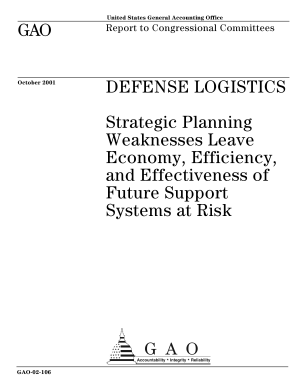 Defense logistics strategic planning weaknesses leave economy  efficiency  and effectiveness of future support systems at risk   report to congressional committees PDF