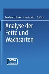 Analyse der Fette und Wachsarten: Ausgabe 5