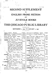 Second supplement to English prose fiction and juvenile books in the Chicago Public Library: September 1, 1904 to January 1, 1907