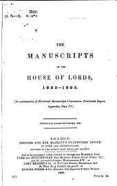The manuscripts of the House of Lords: Volume 1
