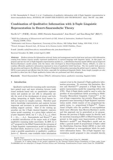 Combination of Qualitative Information with 2 Tuple Linguistic Representation in Dezert Smarandache Theory PDF