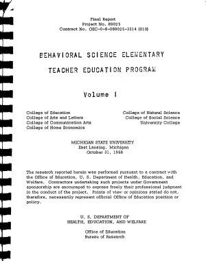Behavioral Science Elementary Teacher Education Program