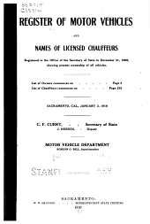 Register of Motor Vehicles and Names of Licensed Chauffeurs Registered in the Office of the Secretary of State to December 31, 1909: Showing Present Ownership of All Vehicles ...