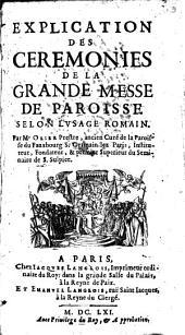 Explication des cérémonies de la grande messe de paroisse selon l'usage romain