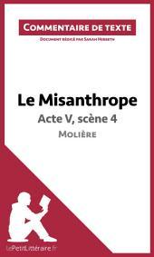 Le Misanthrope de Molière - Acte V, scène 4: Commentaire de texte