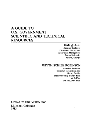 A Guide to U S  Government Scientific and Technical Resources PDF