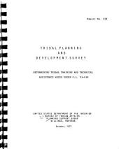 Tribal Planning and Development Survey: Determining Tribal Training and Technical Assistance Needs Under P.L. 93-638