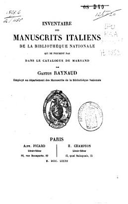 Inventaire Des Manuscrits Italiens De La Bibliotheque Nationale