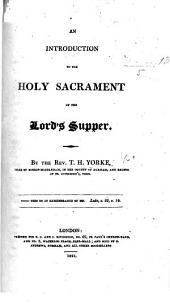 An Introduction to the Holy Sacrament of the Lord's Supper