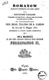 Romanow ballo storico in sei atti di Salvatore Taglioni [...]