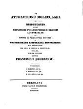 De attractione moleculari: Dissertatio quam amplissimi philosophorum ordinis auctoritate ad summos in philosophia honores in Universitate Litteraria Berolinensi. Rite adipiscendos die XXIX. M. Aprilis A. MDCCCXLIII