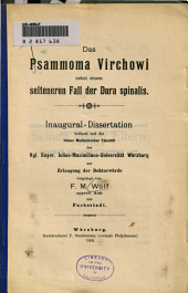 Das Psammoma Virchowi: nebst einem selteneren Fall der Dura spinalis