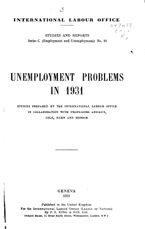 Unemployment Problems in 1931 PDF