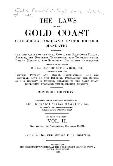 The Laws of the Gold Coast  including Togoland Under British Mandate  PDF