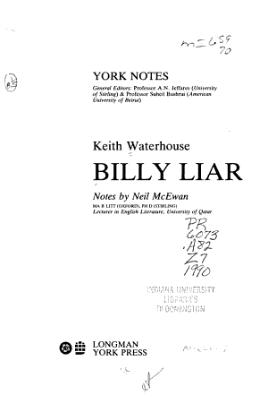 Keith Waterhouse  Billy Liar