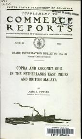 Copra and coconut oils in the Netherlands East Indies and British Malaya