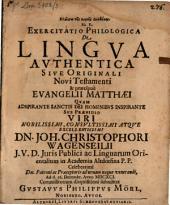De lingua authentica sive originali N. T., et praecipue evangelii Matthaei