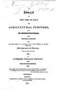 An essay on the uses of Salt for Agricultural purposes  and in horticulture     The second edition PDF