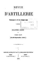 Revue d'artillerie: Volume24