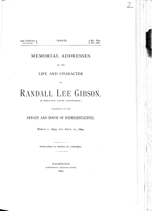 Memorial Addresses on the Life and Character of Randall Lee Gibson PDF