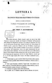 Lettera I. sul magneto-telluro-elettrico in Italia diretta al celebre elettricista Carlo Walker di Londra