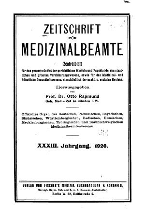 Zeitschrift f  r Medizinalbeamte PDF