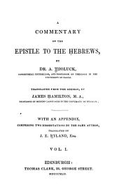 A Commentary on the Epistle to the Hebrews: Volume 1