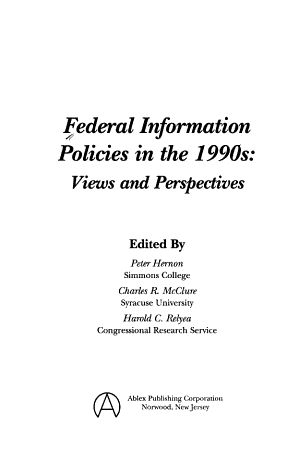 Federal Information Policies in the 1990s PDF