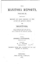 The Manitoba Reports: Volume 9
